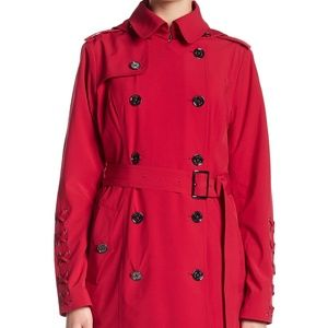Lace Up Sleeve Hooded Trench Coat Jacket Raspberry